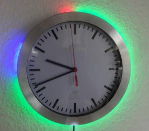 wall clock with LED clock add-on